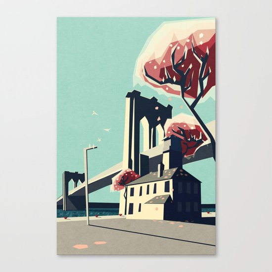 A pretty day at the brooklyn bridge Canvas Print