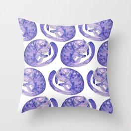 Sleepy Purple cat Throw Pillow