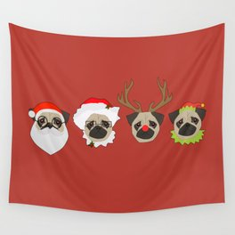 Christmas Pugs Red Wall Tapestry