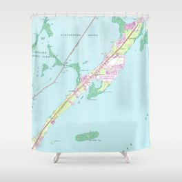 Vintage Rock Harbor Florida Map (1947) Shower Curtain