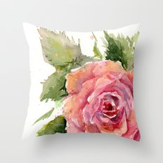 Red Rose Watercolor Pink Rose Flower Floral Art Throw Pillow