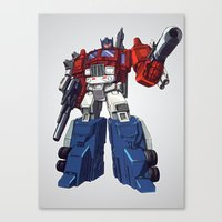optimus prime Canvas Prints featuring Optimus by CromMorc