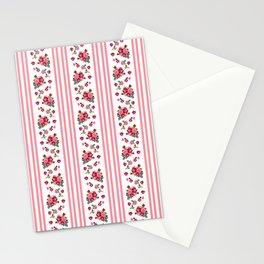 Vintage Floral Stripes - Coral Rose Stationery Cards