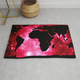 World Map : Red Hot Pink Galaxy Rug