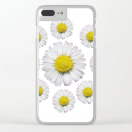 ALL WHITE SHASTA DAISY FLOWERS ART Clear iPhone Case
