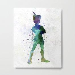 Peter Pan in watercolor Metal Print