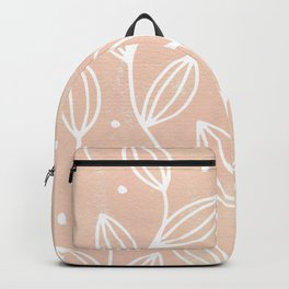 Watercolor Blush Leaves Backpack
