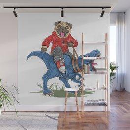 Pug riding dinosaur. Jurassic park Wall Mural