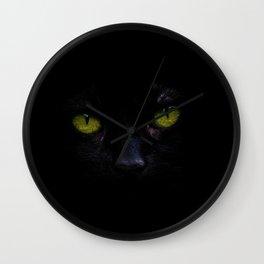 Black Cat Green Eyes Face (Color) Wall Clock