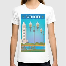Baton Rouge, Louisiana - Skyline Illustration by Loose Petals T-shirt