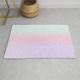 Colorful Purple, Pink and Green Watercolor Trendy Glitter Mermaid Pastel Iridescent Rug