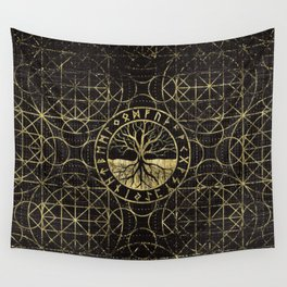 Tree of life  -Yggdrasil and  Runes Wall Tapestry