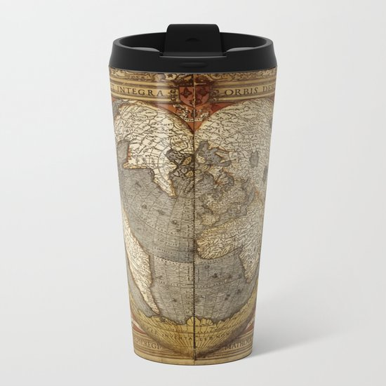 Heart-shaped projection map by Oronce Fine, 16th century Metal Travel Mug