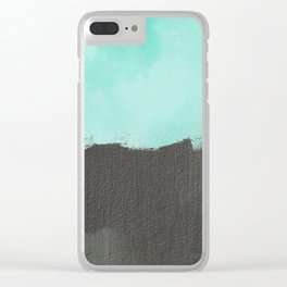 Two color abstract - blue, gray Clear iPhone Case