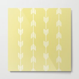 Running Arrows in White and Yellow Metal Print