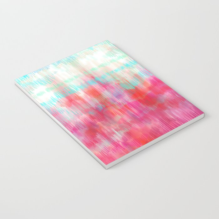Color Song - abstract in pink, coral, mint, aqua Notebook
