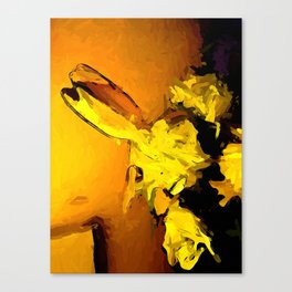 Yellow Flowers in Gold Light with an Orange Wall Canvas Print
