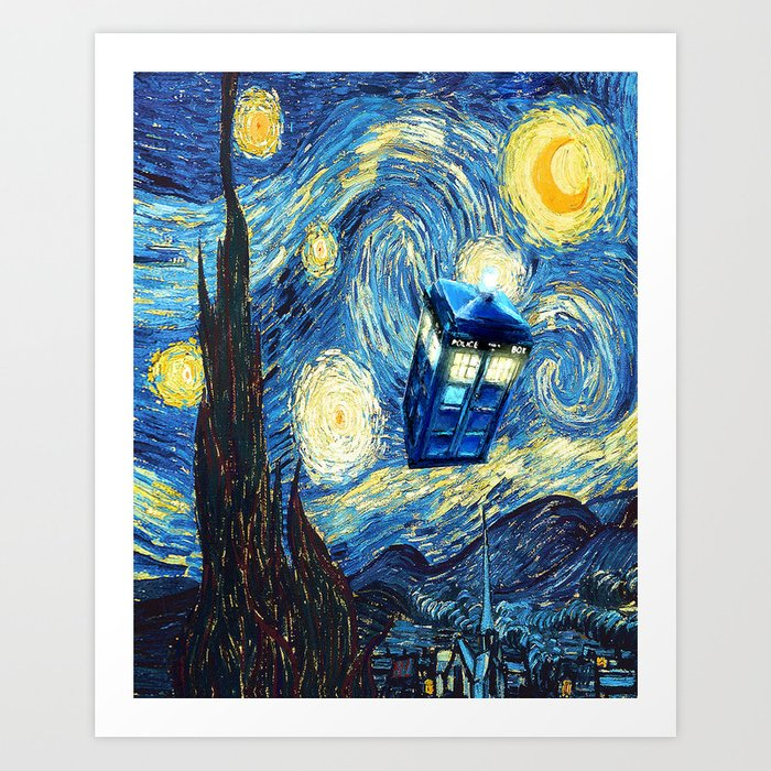 Soaring Tardis doctor who starry night iPhone 4 4s 5 5c 6, pillow case, mugs and tshirt Art Print