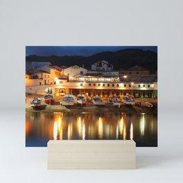 Harbour at dusk Mini Art Print