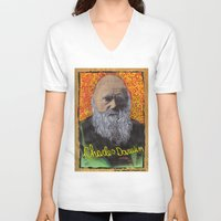 darwin V-neck T-shirts featuring Charles Darwin by Ibbanez