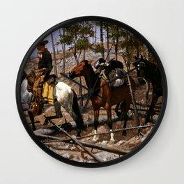 "Frederic Remington Western Art ""Prospecting for Cattle Range"" Wall Clock"