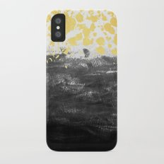 Minimal painting abstract gold black and white ocean water waves dots painterly iPhone X Slim Case