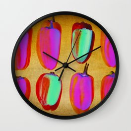 small pink peppers Wall Clock