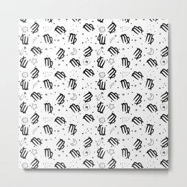 Virgo zodiac sign hand drawn seamless pattern Metal Print