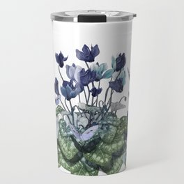 """Spring garden of blue cyclamen and butterflies"" Travel Mug"