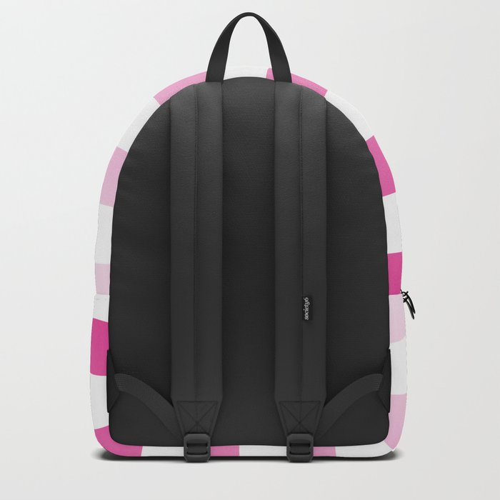 Maritime pattern- pink gradient stripes on clear white- horizontal Backpack