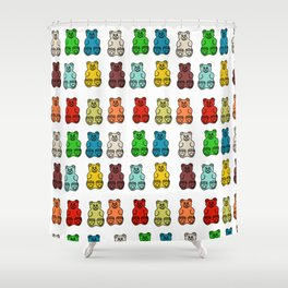 Cute Gummy Bear Candy Collage Shower Curtain