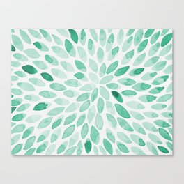Watercolor brush strokes - aqua Canvas Print