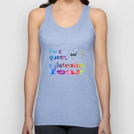 Here, Queer, and Full of Existential Fear (Rainbow Inverted) Unisex Tank Top