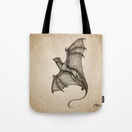 """Hurricane Wyvern"" by Amber Marine, Ink & Graphite Dragon Art, (Copyright 2016) Tote Bag"