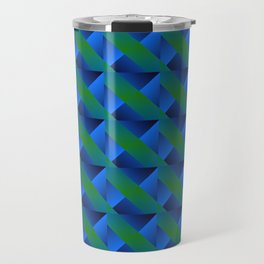 Braid of bright green squares and triangles in blue. Travel Mug
