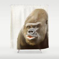 gorilla Shower Curtains featuring Gorilla by Asya Solo