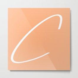 'C' modern letter print in peach Metal Print