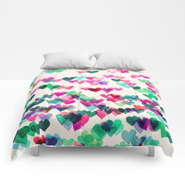 Heart Connections II - watercolor painting (color variation) Comforters