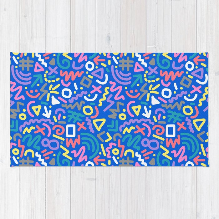 Bright Hand Drawn 90s Pattern Rug By Cinacatteau