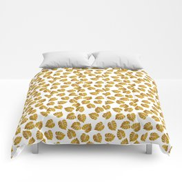 Gold Metallic Foil Photo-Effect Monstera Giant Tropical Leaves Comforters