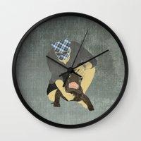 wrestling Wall Clocks featuring Alligator wrestling by Aquamarine Studio