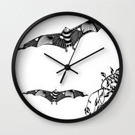 Tangled Bat on White Wall Clock