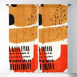 Mid Century Modern Abstract Minimalist Retro Vintage Style Fun Playful Ochre Yellow Ochre Orange  Blackout Curtain