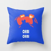 chibi Throw Pillows featuring chibi chibi by Michi Donaho