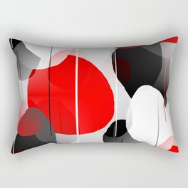 Modern Anxiety Abstract - Red, Black, Gray Rectangular Pillow