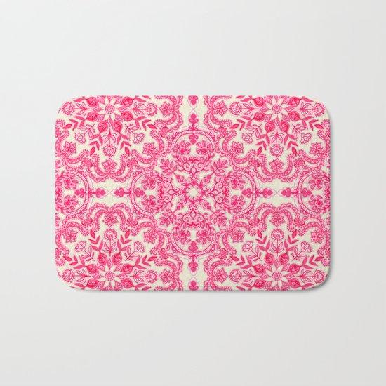 Hot Pink & Soft Cream Folk Art Pattern Bath Mat