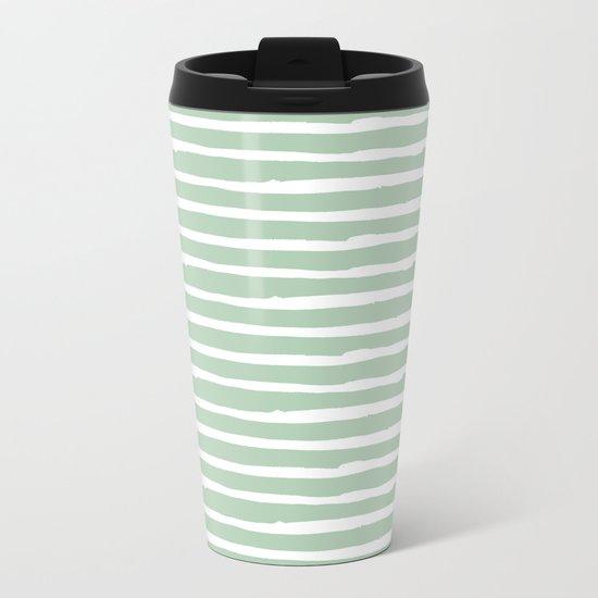 Elegant Stripes Pastel Cactus Green and White Metal Travel Mug