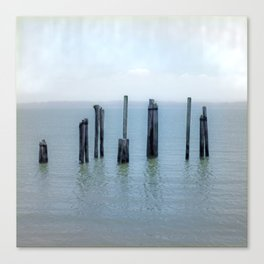 Tokeland, Willapa Bay, Washington Pier, River Pilings Canvas Print