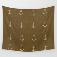 anchors Wall Tapestries featuring Anchors Away - Brown by Judy Palkimas