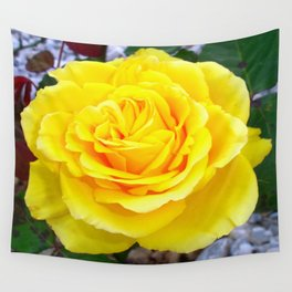 Golden Yellow Rose with Garden Background Wall Tapestry